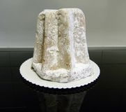 Pandoro on bright background, traditional italian christmas cake stock images