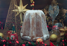 Pandoro, typical Italian Christmas cake with butter and powdered Royalty Free Stock Photo