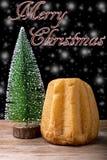 Pandoro y árbol de navidad Imagen de archivo
