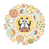Pandy łasowania kluski z chopsticks Chińczyków naczynia na talerzach Odgórny widok Okręgu skład z różnym jedzeniem ilustracja wektor