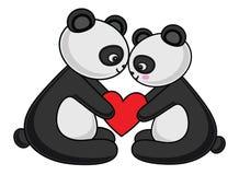 Pandy pary miłości wektoru ilustracja obraz stock