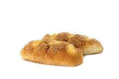 Pane all'aglio del sesamo su bianco Fotografia Stock Libera da Diritti