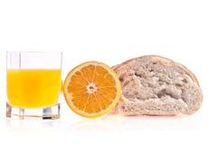 Pane, arancio e spremuta Fotografia Stock Libera da Diritti
