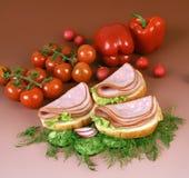 Pane bianco con la salsiccia affettata Immagine Stock Libera da Diritti