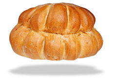 Pane bianco del cottage della pagnotta isolato su bianco Fotografia Stock Libera da Diritti