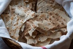 Pane Carasau Crispy Flatbread From Sardinia. Thin Bread. Organic Food Royalty Free Stock Images