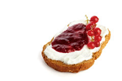 Pane con cagliata e marmelade/ostruzione Fotografie Stock