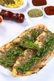 Pane con carne - pizza turca immagini stock