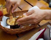 Pane con il patè della carne di maiale Fotografie Stock