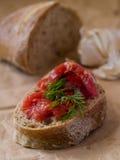 Pane con la salsa di pomodori e della carne Immagine Stock