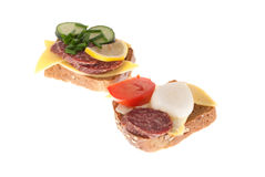 Pane con la salsiccia e le verdure Fotografia Stock Libera da Diritti