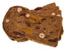 Pane con le noci e la frutta Fotografie Stock Libere da Diritti