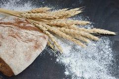 Pane con le spighe del granoturco e farina sparsa Immagini Stock