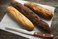 Pane dalla farina di frumento e della segale Fotografie Stock