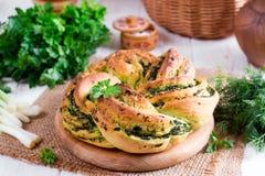 Pane del formaggio dell'aglio selvaggio Fotografia Stock