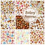 Pane del forno, pasticceria, modelli dei dolci della pasticceria Immagini Stock