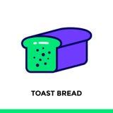 PANE del PANE TOSTATO lineare dell'icona del forno, cucinante Pittogramma Sui di vettore Fotografia Stock Libera da Diritti