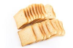 Pane del pane tostato su bianco Fotografia Stock Libera da Diritti