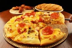 Pane di aglio e della pizza Fotografia Stock