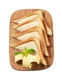 Pane e burro tostati immagini stock