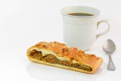 pane e caffè di ฺฺbakery su fondo bianco Fotografie Stock