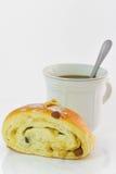 pane e caffè di ฺฺBakery sulle sedere bianche Immagini Stock