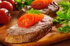 Pane e patè Immagini Stock