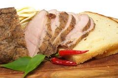 Pane e prosciutto e formaggio Fotografia Stock Libera da Diritti