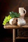 Pane e vino fotografie stock
