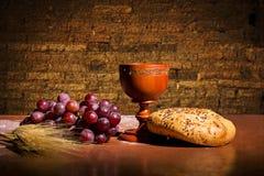 Pane e vino Immagine Stock