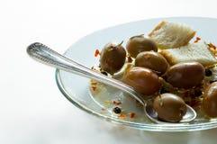 Pane ed olive verdi Immagine Stock Libera da Diritti