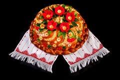 Pane festivo ucraino di festa del forno su bianco Fotografia Stock