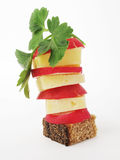 Pane, formaggio, ravanello, pianta Immagini Stock