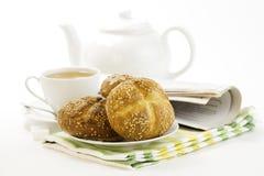 Pane francese crostoso del whith della prima colazione fotografia stock