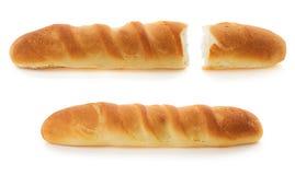 Pane francese su bianco Fotografie Stock Libere da Diritti