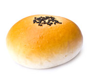 Pane fresco con sesamo isolato fotografia stock