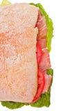 Pane fresco di ciabatta con il prosciutto Fotografia Stock