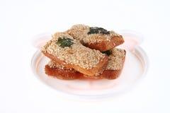 Pane fritto nel grasso bollente con gambero e sesamo Fotografia Stock Libera da Diritti