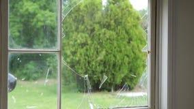 Pane Glass Window Break Super Slow Motion stock footage