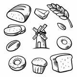 Pane, grano, grano, ciambella, mulino del dolce e cucinare Metta i simboli e l'icona del forno di vettore Immagini Stock