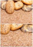 Pane integrale tradizionale sopra i cereali crudi del frumento Immagini Stock