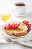 Pane inzuppato in latte/uova e zucchero e fritto in padella con il miele del ribes per la prima colazione Fotografia Stock
