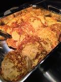 Pane inzuppato in latte/uova e zucchero e fritto in padella del muffin inglese Fotografia Stock Libera da Diritti