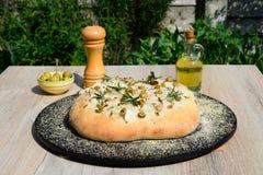 Pane italiano rustico di focaccia fotografia stock