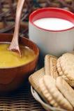 Pane, latte e miele Immagine Stock Libera da Diritti