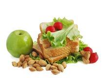 Pane, mela ed insalata fotografia stock libera da diritti