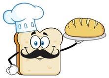 Pane perfetto di presentazione del carattere della mascotte di Bread Slice Cartoon del cuoco unico Fotografie Stock