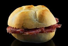 Pane & salame. Salami slice in a bread sandwich Royalty Free Stock Photo