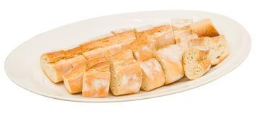 Pane sul piatto bianco Fotografia Stock
