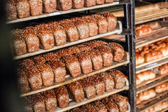 Pane sullo scaffale alla fabbrica del pane Fotografia Stock